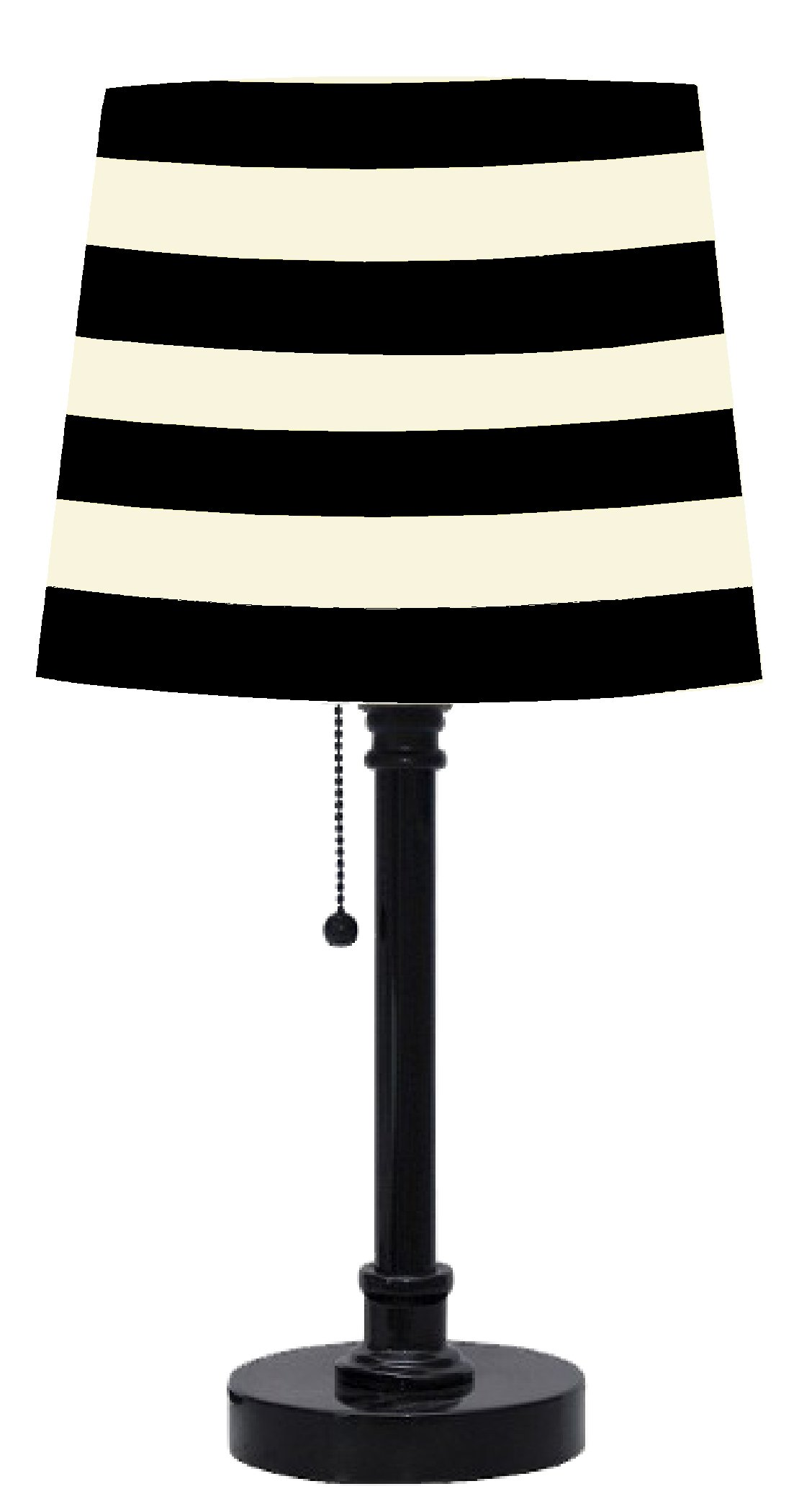 Urban Shop Black and White Striped Table Lamp - Black lamp base with a classic shade Easily coordinates with room decor Perfect for use on end and side tables - lamps, bedroom-decor, bedroom - 61Eehf7csgL -