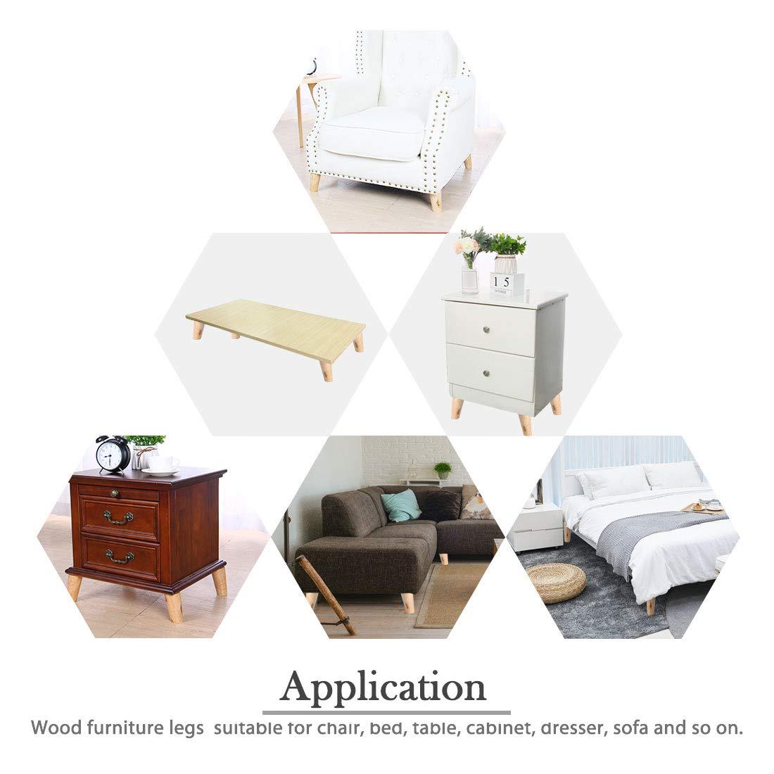 bancos Patas de madera maciza para muebles muebles escritorios ajustadores de repuesto sof/ás Sourcingmap sillas armarios