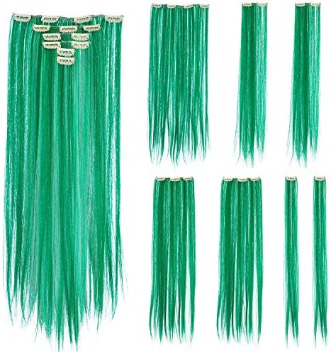 SWACC 7 Pcs Full Head Party Highlights Clip on in Hair Extensions Colored Hair Streak Synthetic Hairpieces (22-Inch Straight, Green)
