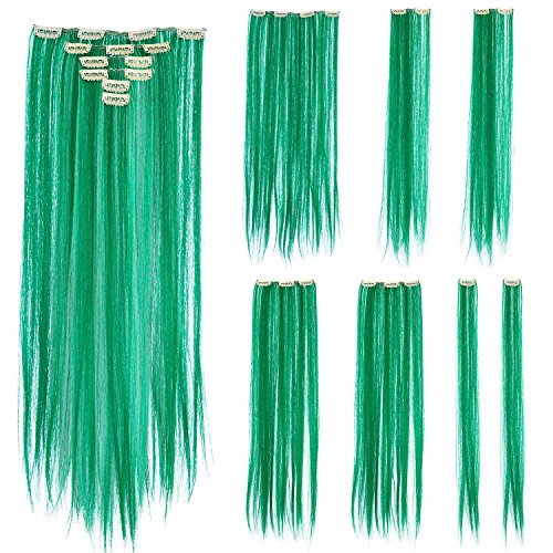 SWACC 7 Pcs Full Head Party Highlights Clip on in Hair Extensions Colored Hair Streak Synthetic Hairpieces (22-Inch Straight, Green) (Neon Green Hair Extensions)