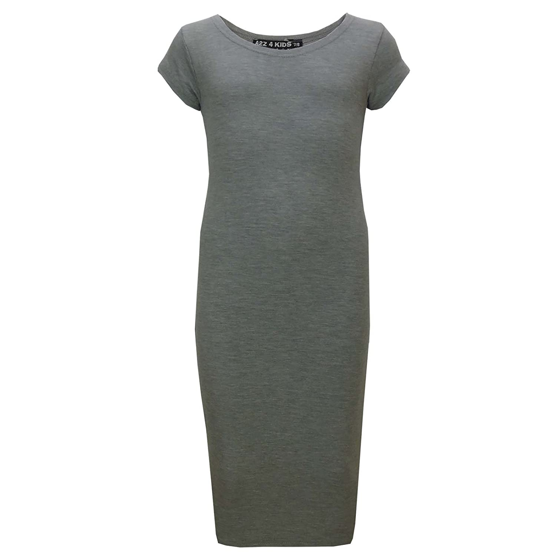 a5362a52fa8a Amazon.com  Gilrs Midi Dress Kids Plain Bodycon Stylish Fashion Summer  Dresses Age 5-13 Year  Clothing