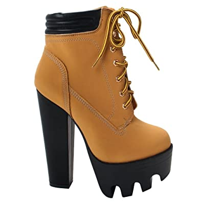 Amazon.com | New Women Chunky High Lugsole Heel Boot Platform Lace ...