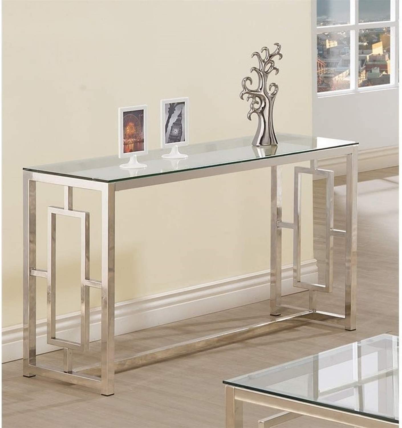 Amazon Com Console Table For Entryway Glass Top Modern Hall Room