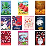 Decorative Seasonal Garden Flags, Set of 10, For Outdoor, All Seasons & Holidays - 12X18in Yard/Lawn Flag, Double sided designs, 3X Layers Strong Material, FREE 2 stoppers & 2 anti-wind clips