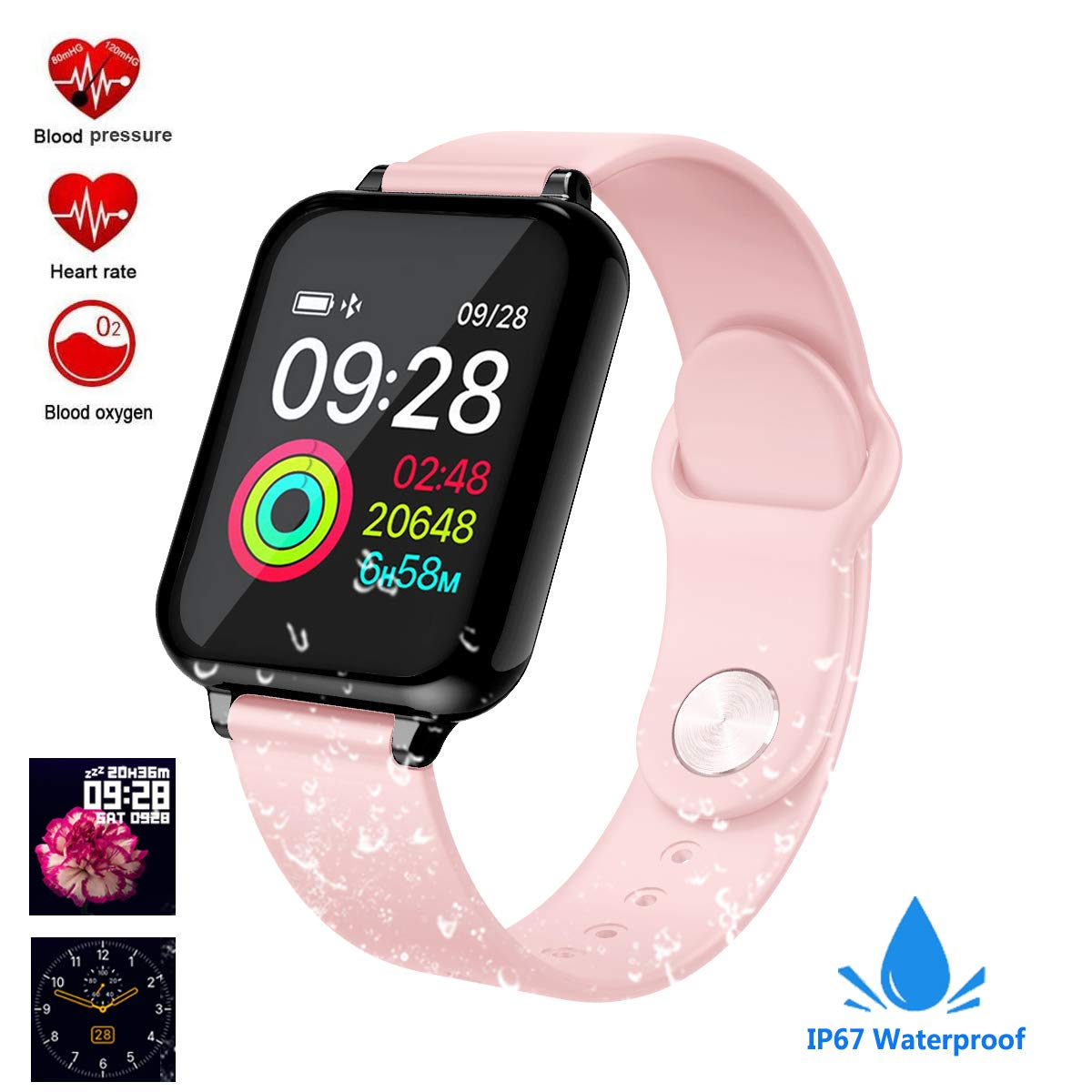feifuns Smart Watch, Fitness Tracker Activity Tracker with Heart Rate Monitor 1.3 Color Screen with Blood Pressure Sleep Monitor Step Calorie Counter,IP67 Waterproof Band for Men Women Kids (Pink)
