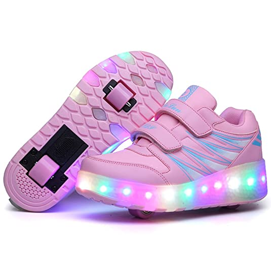 Amazon.com: Fashion Sir Unisex Boys Girls LED Light up Single Wheel Double Wheel Shoes Roller Shoes Roller Sneakers Pink: Shoes