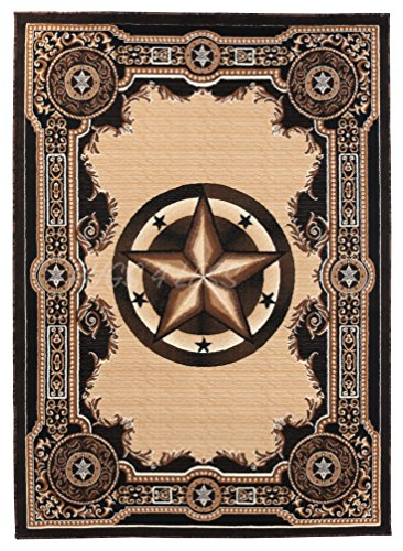 Rugs 4 Less Collection Texas Lone Star State Novelty Area Rug R4L 723 Black ()