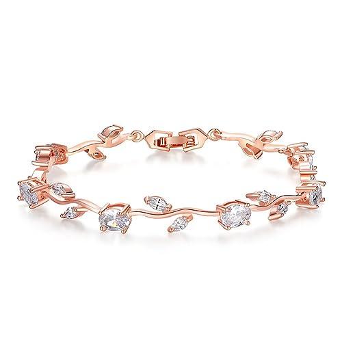 80b9ee4d9c10f0 KAVANI Lovely Rose Gold Plated Bracelet Rose Tennis Bracelet Link Bracelet  AAA Cubic Zirconia Gemstone Flower