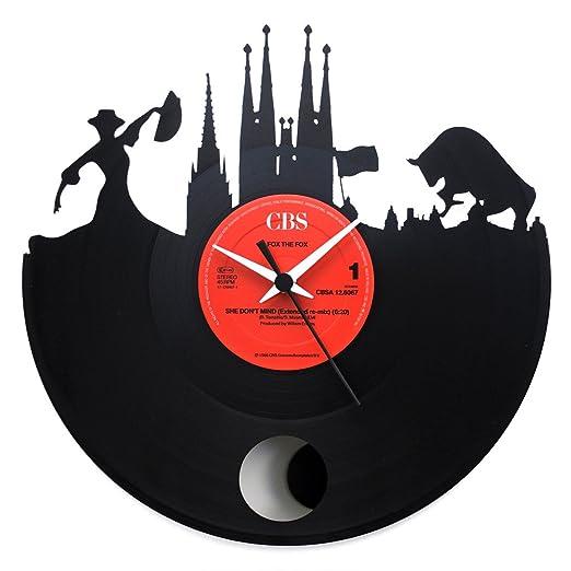 España Barcelona, regalo especial, reloj de péndulo vinilo negro ...