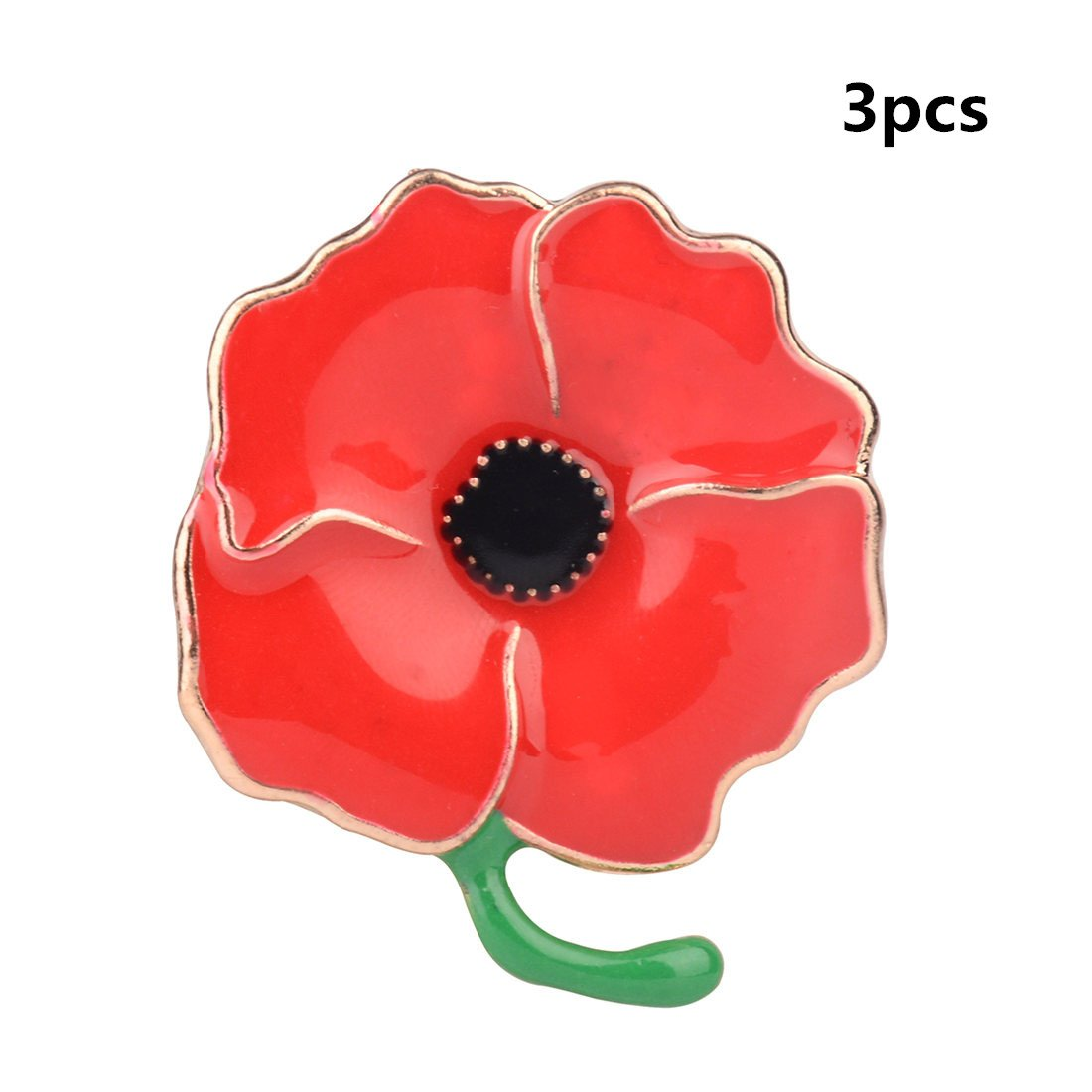 3 Pack Classic Red Poppy Flowers Brooch Pin Badge Glitter Soldier Enamel Lapel Plating Pin Gift for Remembrance Day HS Onsing