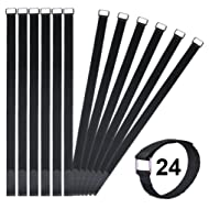 Vigaer 24 inch Cinch Cable Tie Down Straps, 12 Pcs Reusable Hook and Loop Fastening Nylon Cable Tie Wraps with Metal Buckle