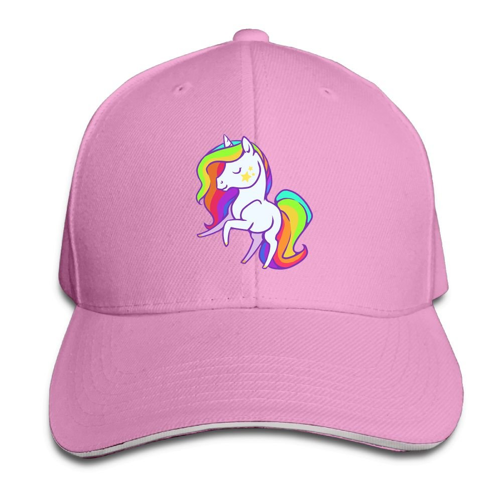 Thirdoone Unisex Cute Rainbow Mane Unicorn Sandwich Trim Dad Hat Sports Snapbacks Hat