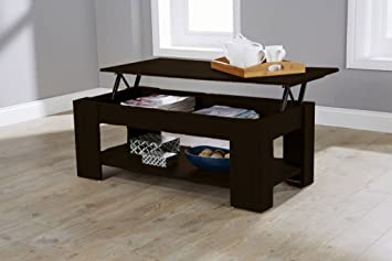 MODERN CONTEMPORARY EXCLUSIVE ESPRESSO LIFT UP COFFEE TABLE LIVING ROOM CENTRE LARGE STORAGE AREA
