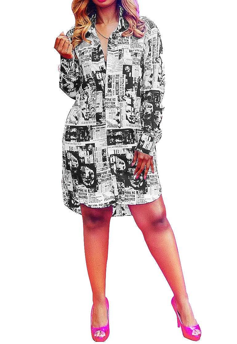 Button Down Shirt Dress For Women Long Sleeve Stretch Loose T