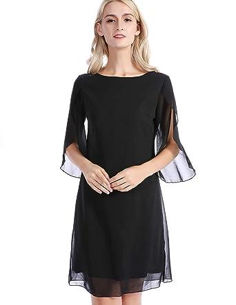 6beed2ba10f CHICIRIS Women 3 4 Sleeve Formal Cocktail Dress Casual Chiffon Dress Knee  Length Black S