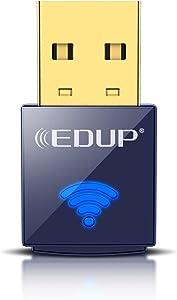 EDUP USB Bluetooth WiFi Adapter, Wireless Nano USB Network Adapter for Laptop Desktop PC Wi-Fi Dongle Compatible with Windows 10/7/8/8.1/XP Mac OS X 10.6-10.15.3