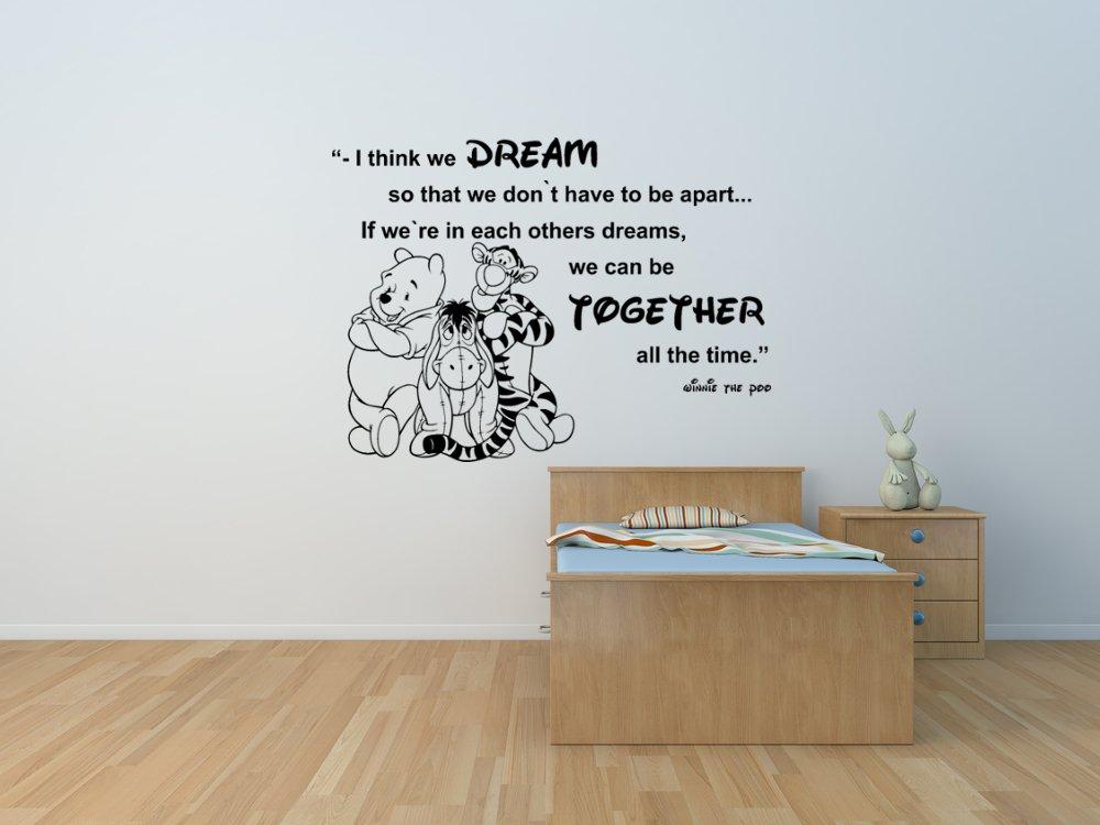Winnie the Pooh e gli amici Eeyore e Tiger citano un adesivo personalizzato a parete per la camera da letto bambino, la decalcomania a muro Winnie the Pooh.