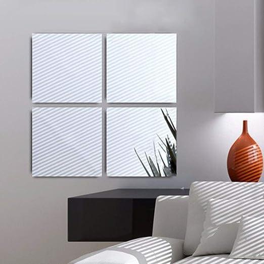 16 X DIY Spiegelfliesen Wandspiegel Spiegelfolie Selbstklebend Aufkleber Folie