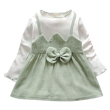 Allence Kleinkind Baby Mädchen Langarm Kleider Bogen