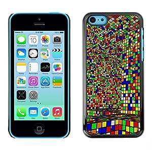 Be Good Phone Accessory // Dura Cáscara cubierta Protectora Caso Carcasa Funda de Protección para Apple Iphone 5C // Cube Colorful Game Art Design Interior Layrinth