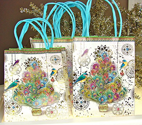 Punch Studio #95839 Peacock Feather Christmas Tree Holiday Gift Bags with Gold Foil Highlights - Boxed Set of 8