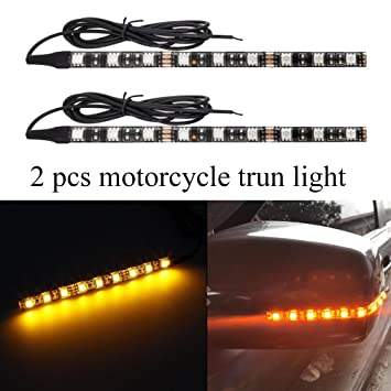 2x 5050 Amber color led Strip led motorcycle Turn signal Universal lights Strip