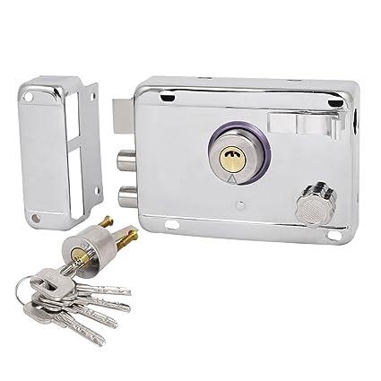 Manilla para puerta con tono plateado cerradura juego de llaves de seguridad