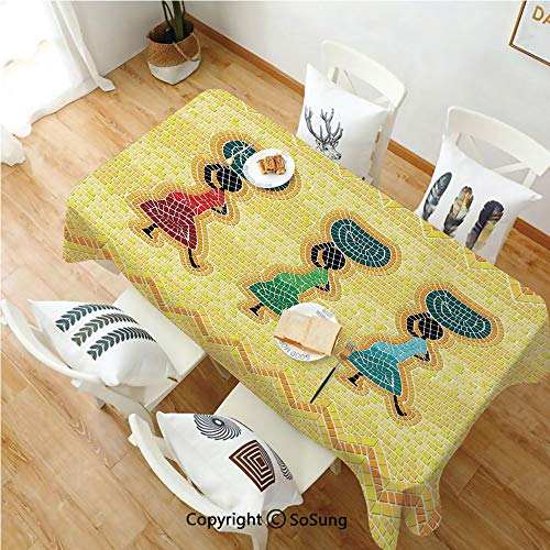 SoSung Primitive Rectangle Polyester Tablecloth,Mosaic Pattern of an African Scene with Women Carrying Food Basket Traditional,Dining Room Kitchen Rectangle Table Cover,60W X 120L inches,Multicolor