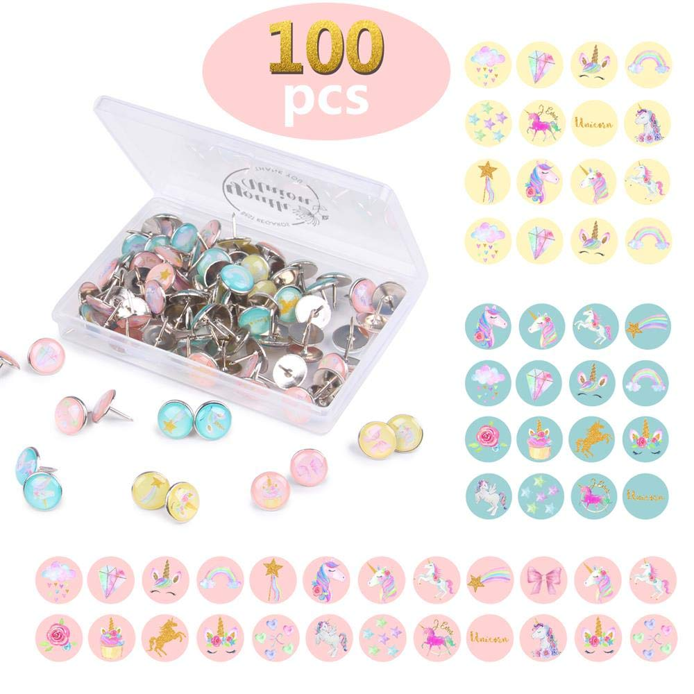 100 Pieces Creative and Fashionable Unicorn Steel Push Pins Decorative Thumbtacks for Wall Maps, Photos, Bulletin Board or Cork Boards,20 Different Patterns Youth Union