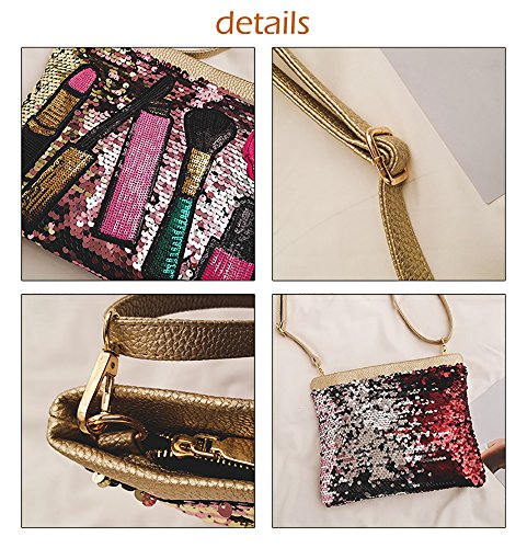 Clutch Bag Magibag Sparkle for Evening Handbag Lipstick Zipper Cross Shoulder Sequins White Body Women EqqnTaw1