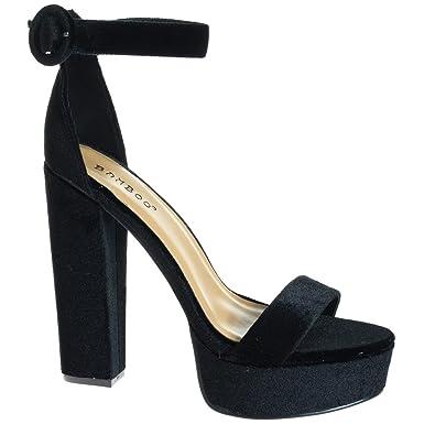 0ff3f50735b BAMBOO Tournament06M Black 70 s Retro Block Heel Platform Dress Sandal w  Ankle Strap -10