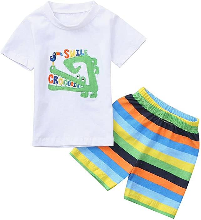 Kids Baby Boys Vest Tops Striped Pants 2pcs Set Summer Easy To Repair Clothing Sets