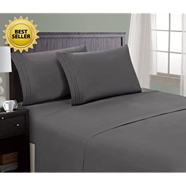 HC Collection Bed Sheet & Pillowcase Set HOTEL LUXURY 1800 Series Egyptian Quality Bedding Collection! Deep Pocket, Wrinkle & Fade Resistant,Luxurious,Comfortable,Extremely Durable(King, Grey)