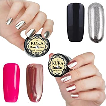 Kuka Rose Gold Nail Effect Silver Powder Mirror Chrome Glitter Nails