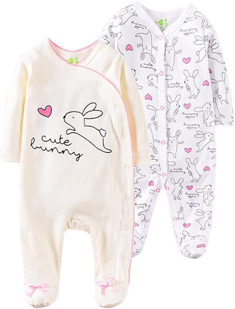 0-3 Months 2-Pack Baby Romper Long-Sleeve Bodysuit Cotton Jumpsuit Onesies Pajamas Cozy Sleepsuits Newborn Gift