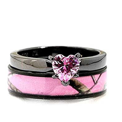 black plated pink camo wedding ring set pink heart engagement rings hypoallergenic titanium and stainless steel - Camo Wedding Ring Sets