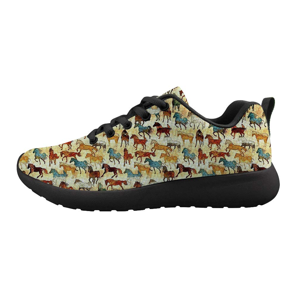 Owaheson Cushioning Sneaker Trail Running Shoe Mens Womens Color Paint Horses