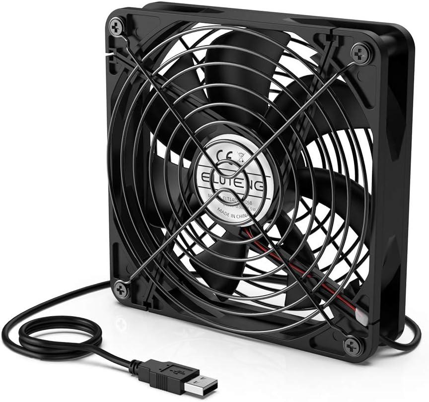 ELUTENG USB Ventilador de Escritorio 140mm Radiador de Refrigeración Ventiladores 50CFM 1000RPM Ventilador 5V / 0.3A con Parrilla de Metal para PC/AV cabint / PS4 / Xbox/Router, Negro