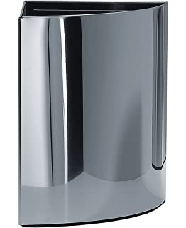 Walther Round Stainless Steel Corner Waste Can/ Wastebaske/ Trash Can Open  Top. Trash
