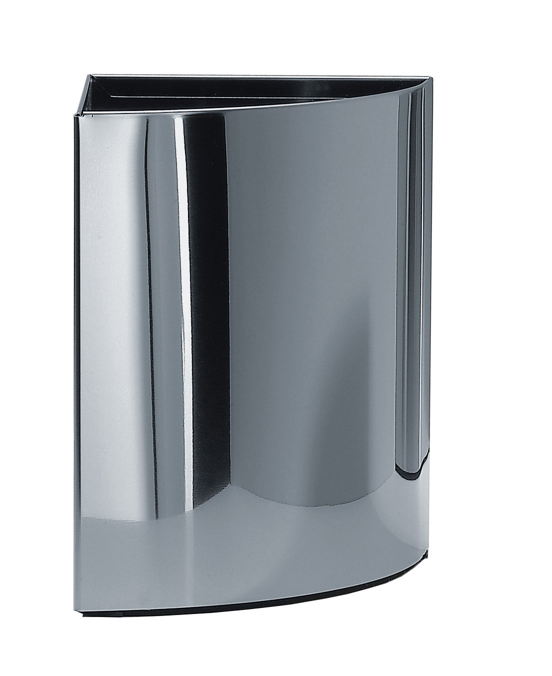 Walther Round Stainless Steel Corner Waste Can/ Wastebaske/ Trash Can Open Top. Trash Can Waste Receptacles Container. Waste Bin. Polished Chrome