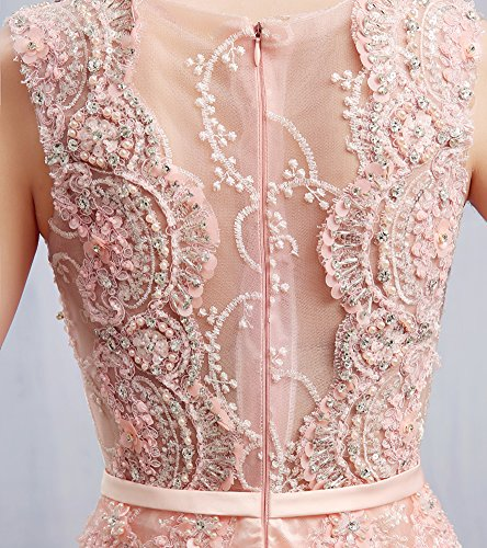 Emily Applique O Blumen Arm Ansatz Abendkleider Sweep Ohne Champagner Spitze Tailing Beauty UqRd0d