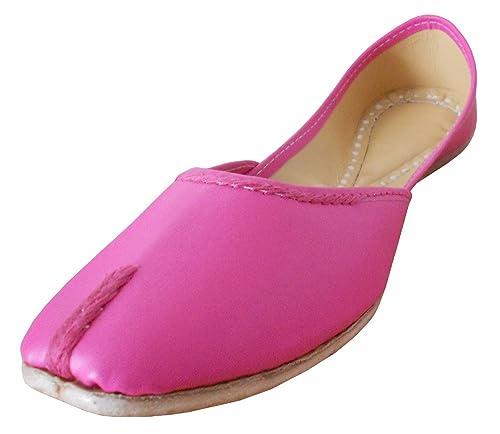 Kalra creaciones de la mujer tradicional hecha a mano india de piel sintética Ballet Flats, color Rosa, talla 40 EU: Amazon.es: Zapatos y complementos