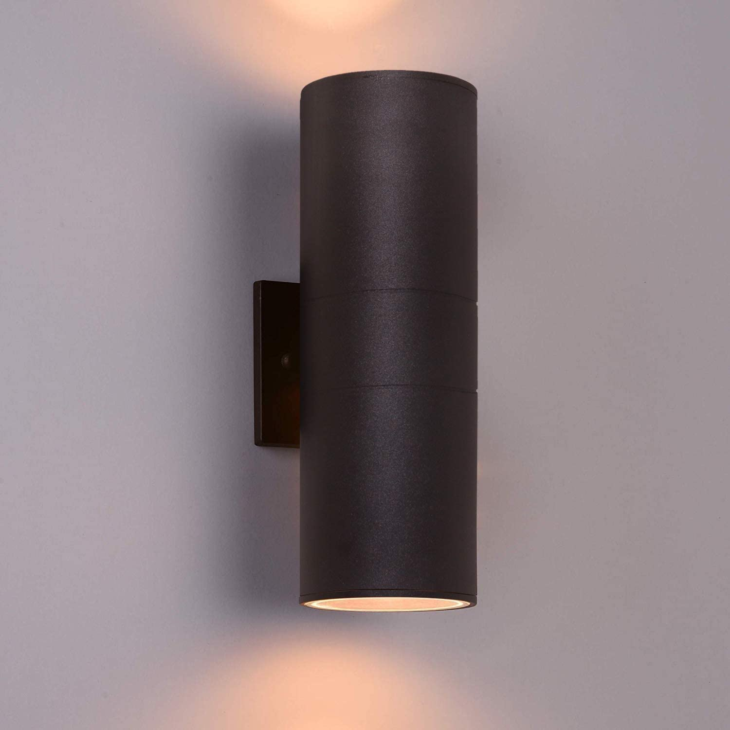 Outdoor Wall Light,Wowlite Exterior Lighting - ETL Listed, Matte Black Stainless Steel Waterproof Wall Mount Cylinder Design - Up Down Light Fixture for Porch, Backyard and Patio (1 Pack)