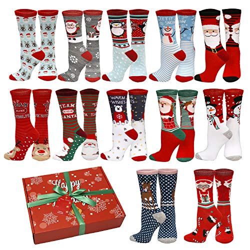 12 Pair,Holiday X-Mas Socks, 12 Different Designs,Christmas Gift, Size 9-11 (12 Pair Style 2)