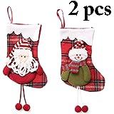 Outgeek 2PCS Christmas Stocking Snowman Santa Christmas Gift Bag Hanging Stocking