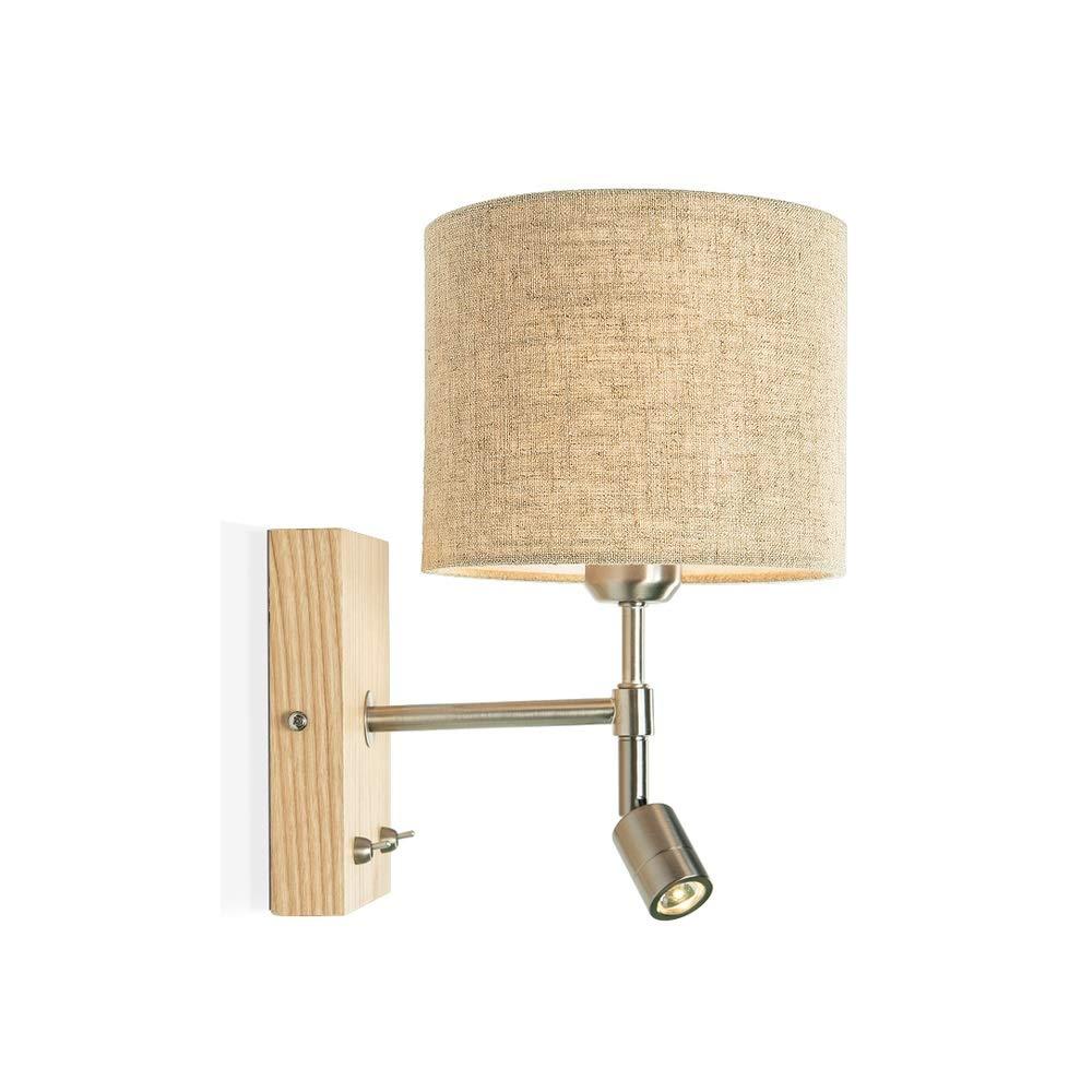 GaoHX Wandlampe Wandleuchte, Nordische Wandlampe Bett Leselampe LED Schlafzimmer Wohnzimmer kreative europäische minimalistische moderne Massivholz Wandleuchte