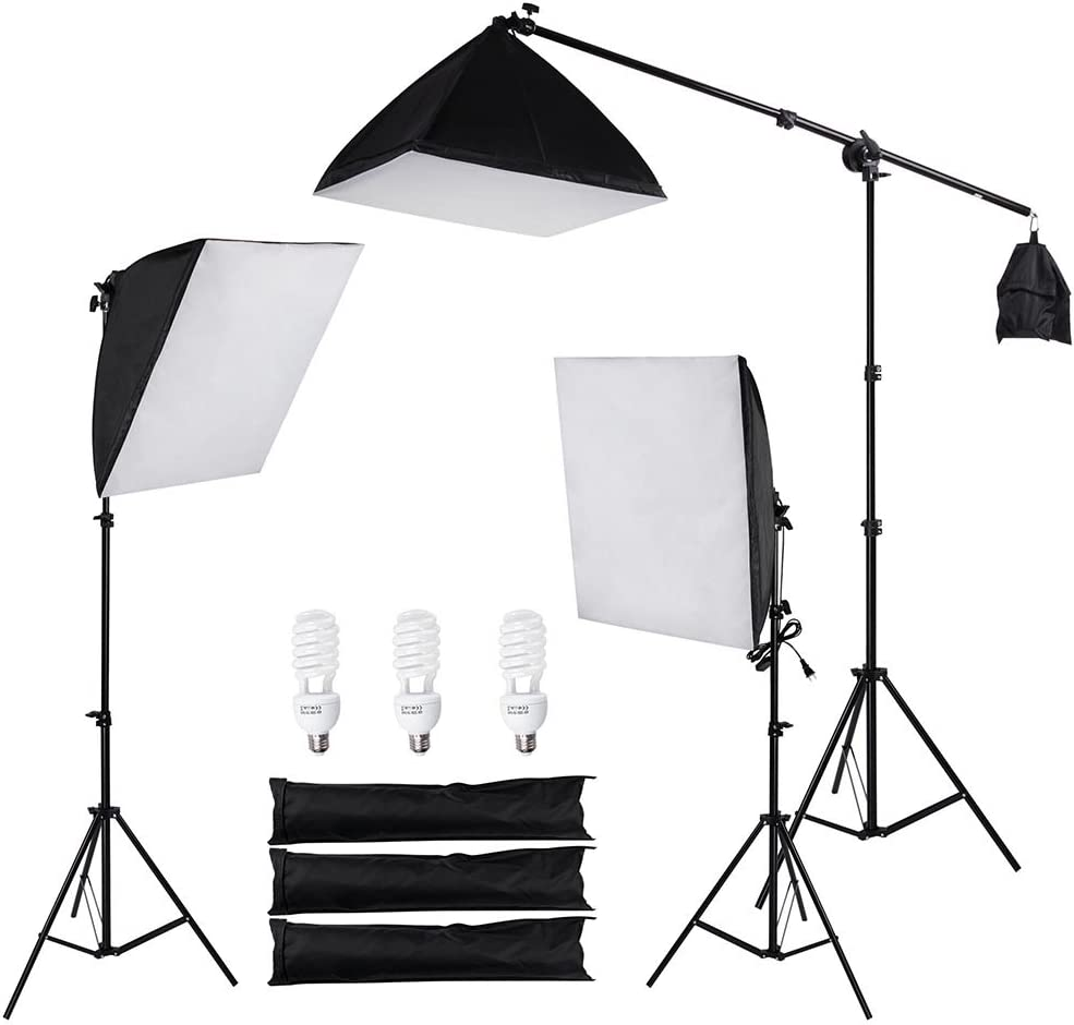 AW 3Pcs 22inch Softbox Photography Lighting Kit 45W 5500K Bulb Aluminum Stand Video Studio Live Shooting with 3 Bag