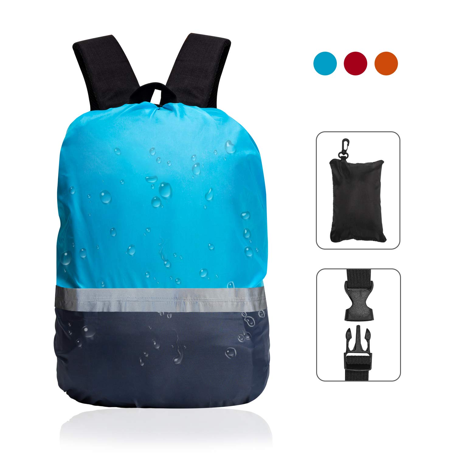 blueee Small TITE Backpack Rain Cover with Reflective Strap greenical Adjustable Buckle Fashion Waterproof for Hiking Camping Outdoor Traveloing Activities Clinbing Cycing Gift