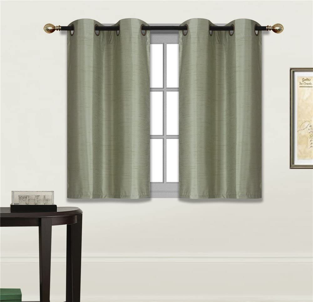 Elegant Home 2 Panels Tiers Grommets Small Window Treatment Curtain Faux Silk Insulated Blackout Drape Short Panel 28