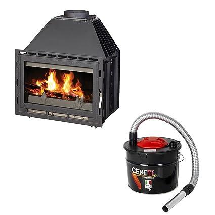 Caldera de leña para quemar chimenea Victoria 05, modelo Senator B, salida de calor